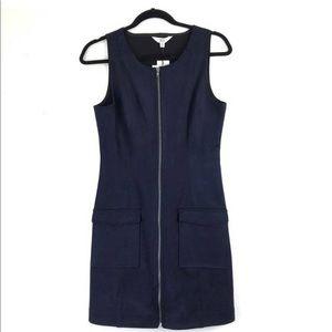 New never worn blue suede zipper dress